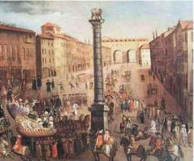 Una vecchia stampa immortala come si presentava Piazza S. Babila dopo la metà del XVII sec.