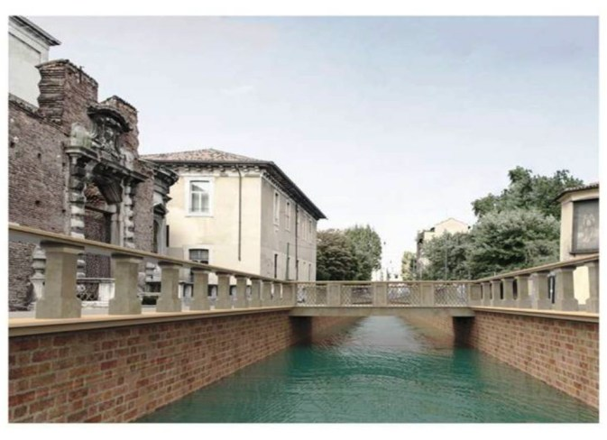 Ricostruzuone del naviglio scoperto sul tratto di Via Francesco Sforza (da urbanfile.com)