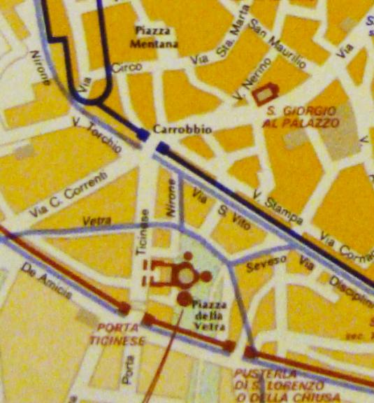 Il quadarante del Carrobbio all'interno delle mura romane, con il diverso andamento della Porta Ticinese medioevale rispetto a quella romana e con l'innesto delle mura augustee sull'andamento delle fortificazioni del circo