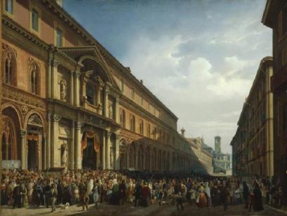 La festa del Perdono davati all'Ospedale maggiore, Luigi Bartezzatti, 1851