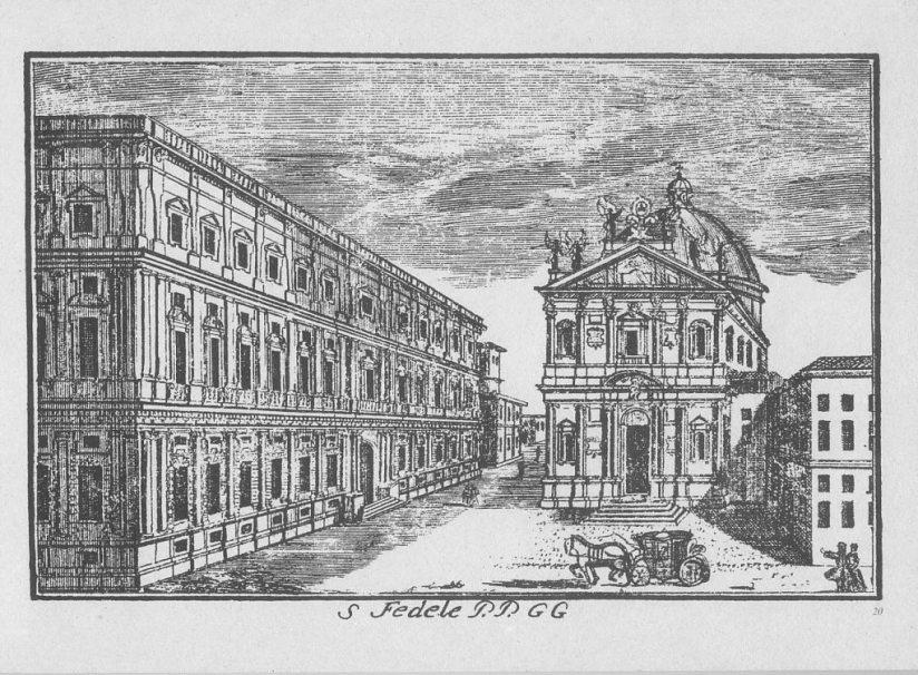 Un'altra vecchia veduta di Marc'Antonio Dal Re con il vicino Palazzo Marino (XVIII sec.)