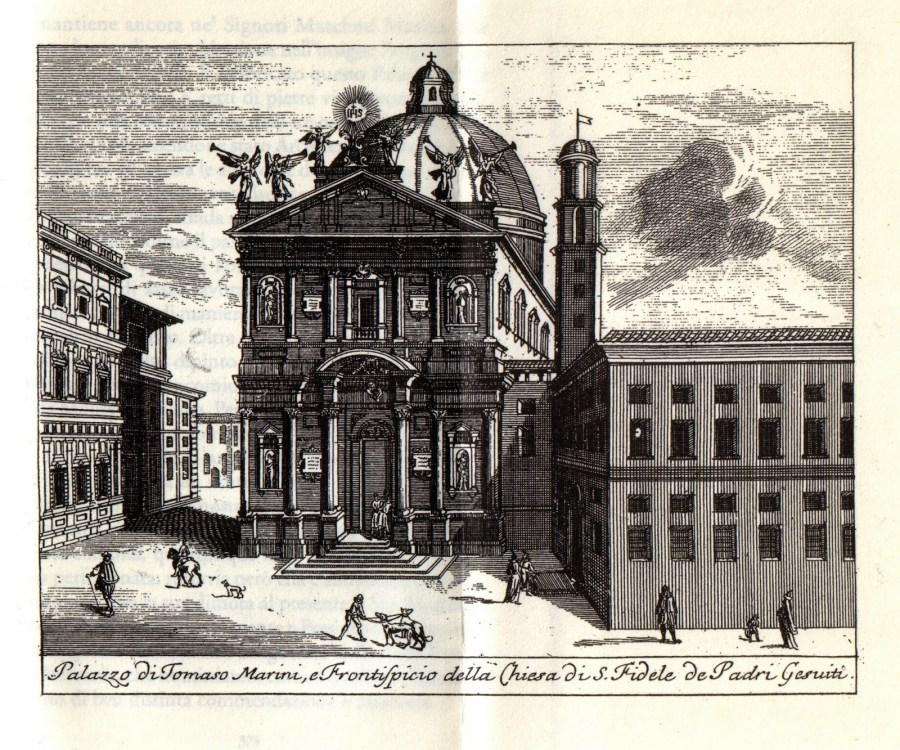 Antica stampa con l'aspetto di S. Fedele nel XVIII sec