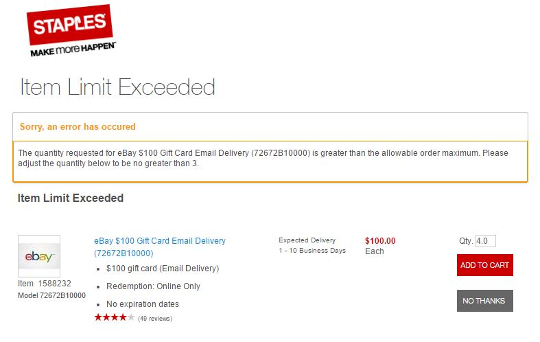 Staples imposes new quantity limit of 3 SPECIFIC electronic gift ...