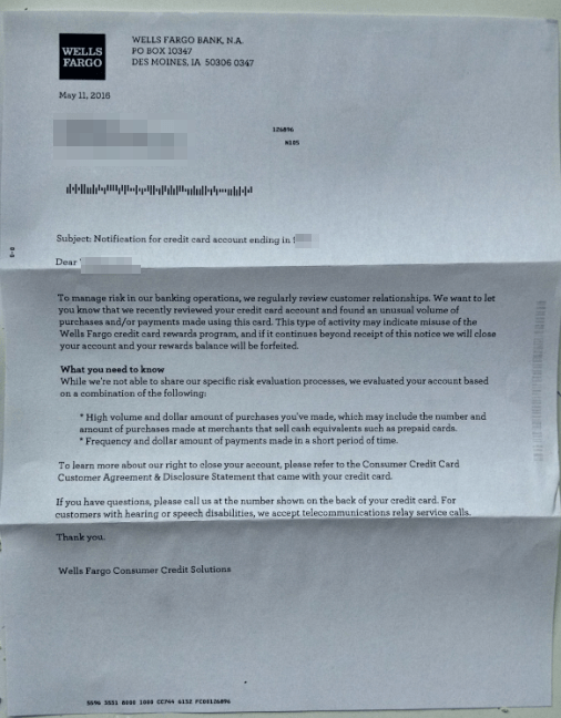 Wells Fargo 5% GGD card sends out warning letters | Miles per Day