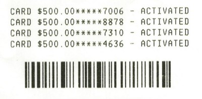 This is the CVS receipt showing the last four digits of the serial # for the card activated.