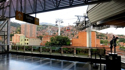 Medellin City Tour - The Metro ascends high above Medellin.