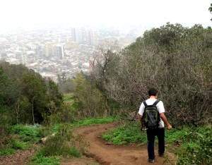 Hiking down Santa Lucia Hill in Santiago, Chile.
