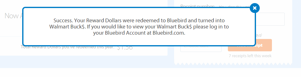 Savings catcher app bluebird confirmation