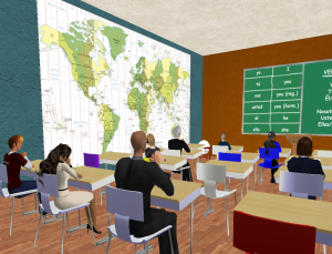 Figure 1: Traditional classroom setup reflects instructional pedagogy.  Image retrieved from http://lindenlab.wordpress.com/2008/11/26/stories-from-second-life-how-languagelab-gave-language-learning-a-new-lease-on-life/