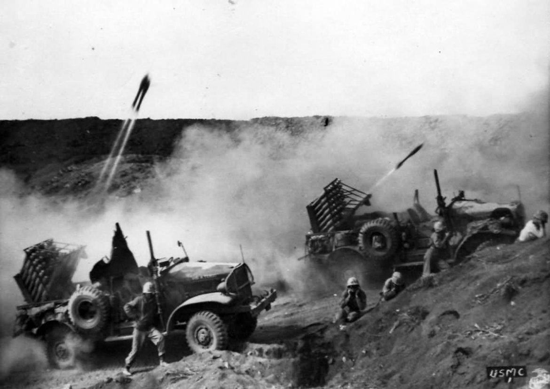 The 1st Provisional Rockets on Iwo Jima (Photo courtesy US Marine Corps)