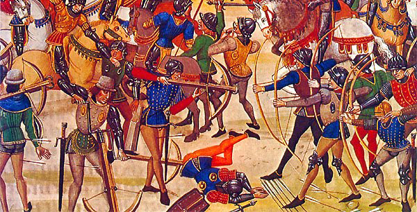 Crossbowmen at the Battle of Crecy 1346.