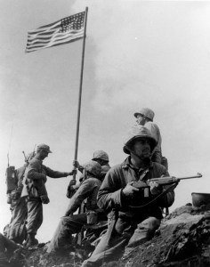 Here's a photo of the original Suribachi flag raising.