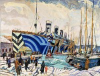 RMS Olympic in Halifax, as seen through the eyes of Group of Seven artist Arthur Lismer. (Image source: WikiCommons).