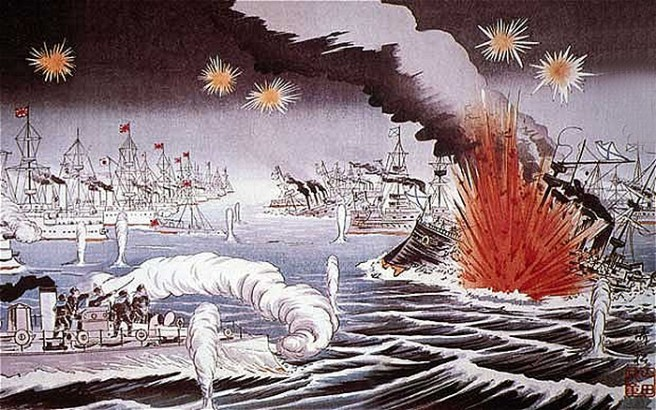 A contemporary lithograph of Japan's triumph over the Russians at Stushima. (Image source: WikiCommons)