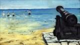 UNDER THE GUN -- 'Beach at Walmer' by Winston Churchill, circa 1938. Grim foreshadowing?