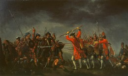 The 1745 Battle of Culloden pitted the British army against a rebel Jacobite army in Scotland. For generations, the English likened it to a fight between civilization and barbarism. (Image source: WikiCommons)