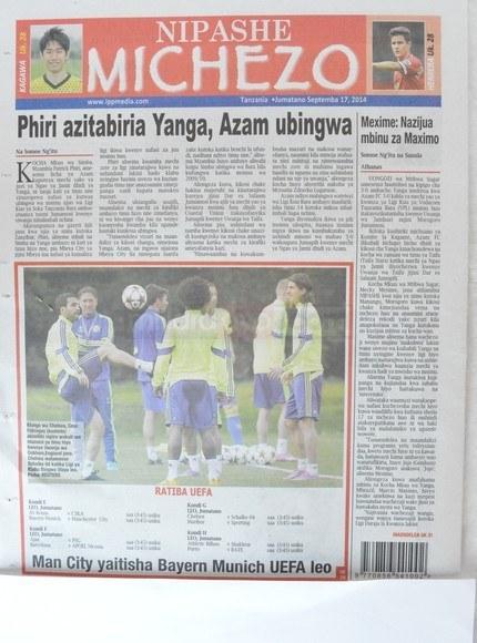 Makubwa ya magazeti ya Tanzania leo Sept 17 2014Udaku, Michezo na