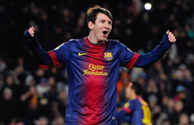 BARCELONA, SPAIN - FEBRUARY 23: Lionel Messi of FC Barcelona celebrates after scoring his team's second goal during the La Liga match between FC Barcelona and Sevilla FC at Camp Nou on February 23, 2013 in Barcelona, Spain. (Photo by David Ramos/Getty Images)