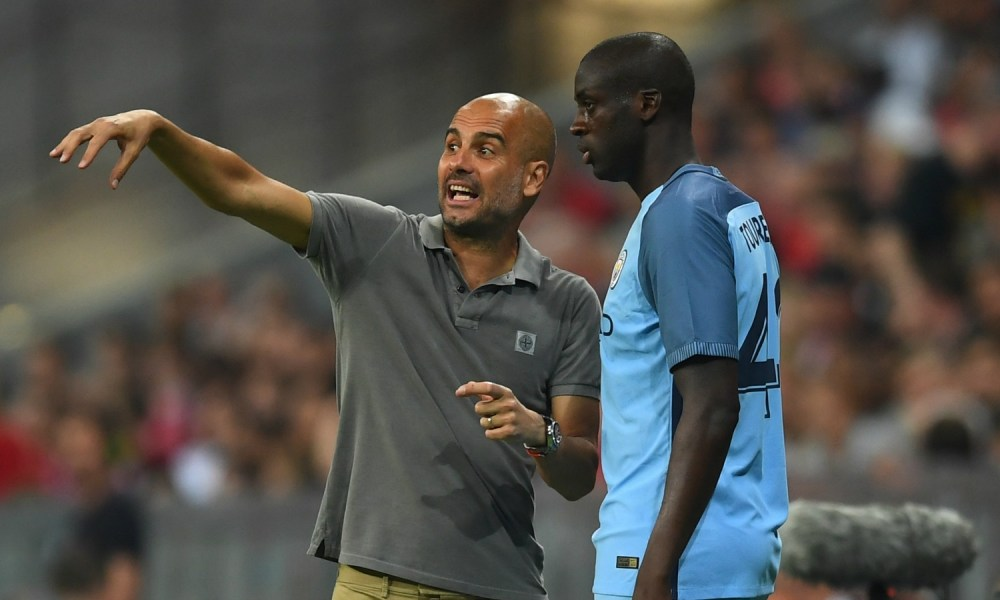 during the pre season friendly match between Bayern Muenchen and Manchester City F.C at the Allianz Arena on July 20, 2016 in Munich, Germany.