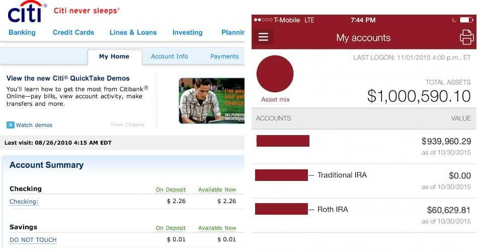 The growth of my bank accounts over 5 years.