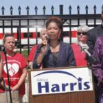 County Supervisor Nikiya Harris announced her candidacy for the 6th District State Senate seat that will be available when State Senator Spencer Coggs leaves that position for his newly elected City Treasurer position. Harris is surrounded by supporters at a press conference outside of Talgo, where she made her announcement this week. (Photo by Robert A. Bell)