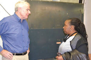 Mayor Tom Barrett and SDC Commissioner ViAnna Jordan talk following the April Community Brainstorming Forum