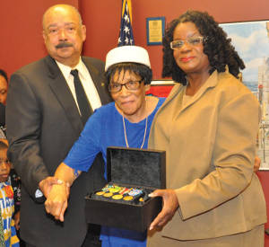 From left to right Robert A. Cocroft, Brigadier General (U.S. Army Retired), Anna Mae Wilson Robertson and Congresswoman Gwen Moore. A Tribute to Anna Mae Wilson Robertson