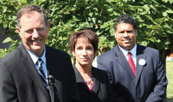 Left to right Jon Richards, Susan Happ, and Ismael Ozanne