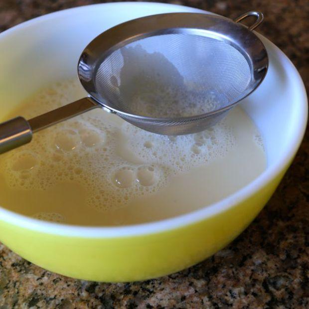 strain the custard