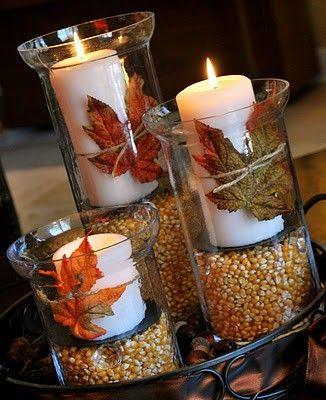 Unas velas, jarrones, hojas secas y maiz: sencillito y resultón