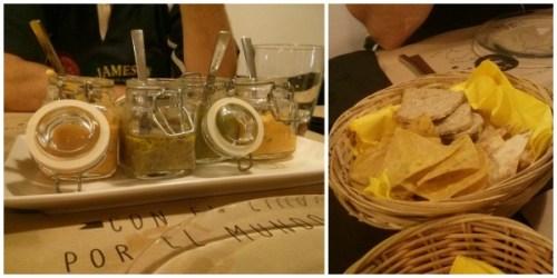 Guacamole, hummus, salmorejo y babba ganous (pate de berenjenas) acompañados de totopos de maiz, totopos de trigo y tostas
