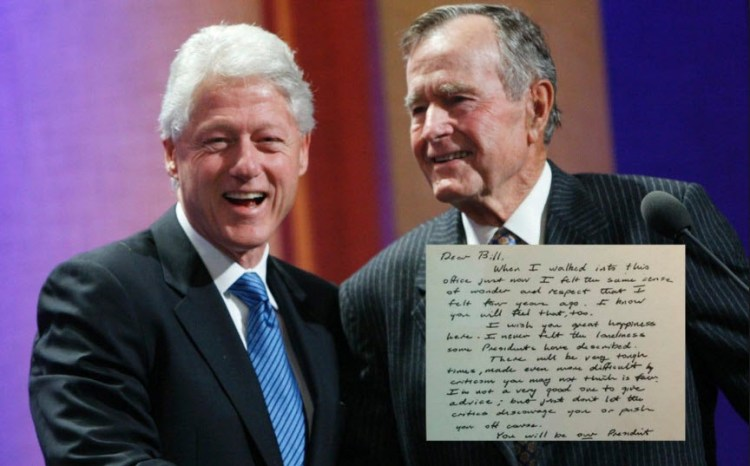 George HW Bush Letter To Bill Clinton Shows That Republicans Used To Be Gentlemen