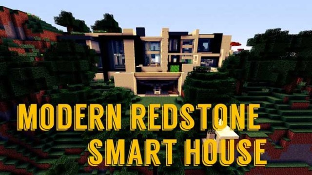 Modern redstone smart house map for minecraft 1 9 1 8 9 for Minecraft modernes redstone haus download