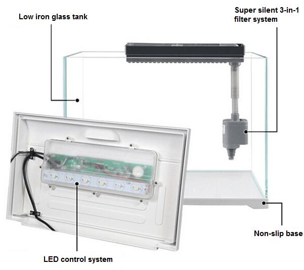 SunSun AT 350 4.5gal Nano Fish Tank w/ 6W LED Light Smart Display
