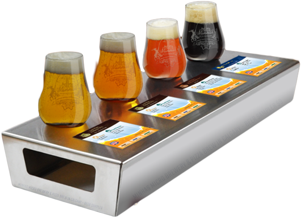 Minhas Brewery offers a 4 Beers sampler tray for Beer Lovers - at the Pizza Brewery Calgary restaurant