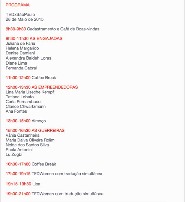 programa TEDx Sao Paulo
