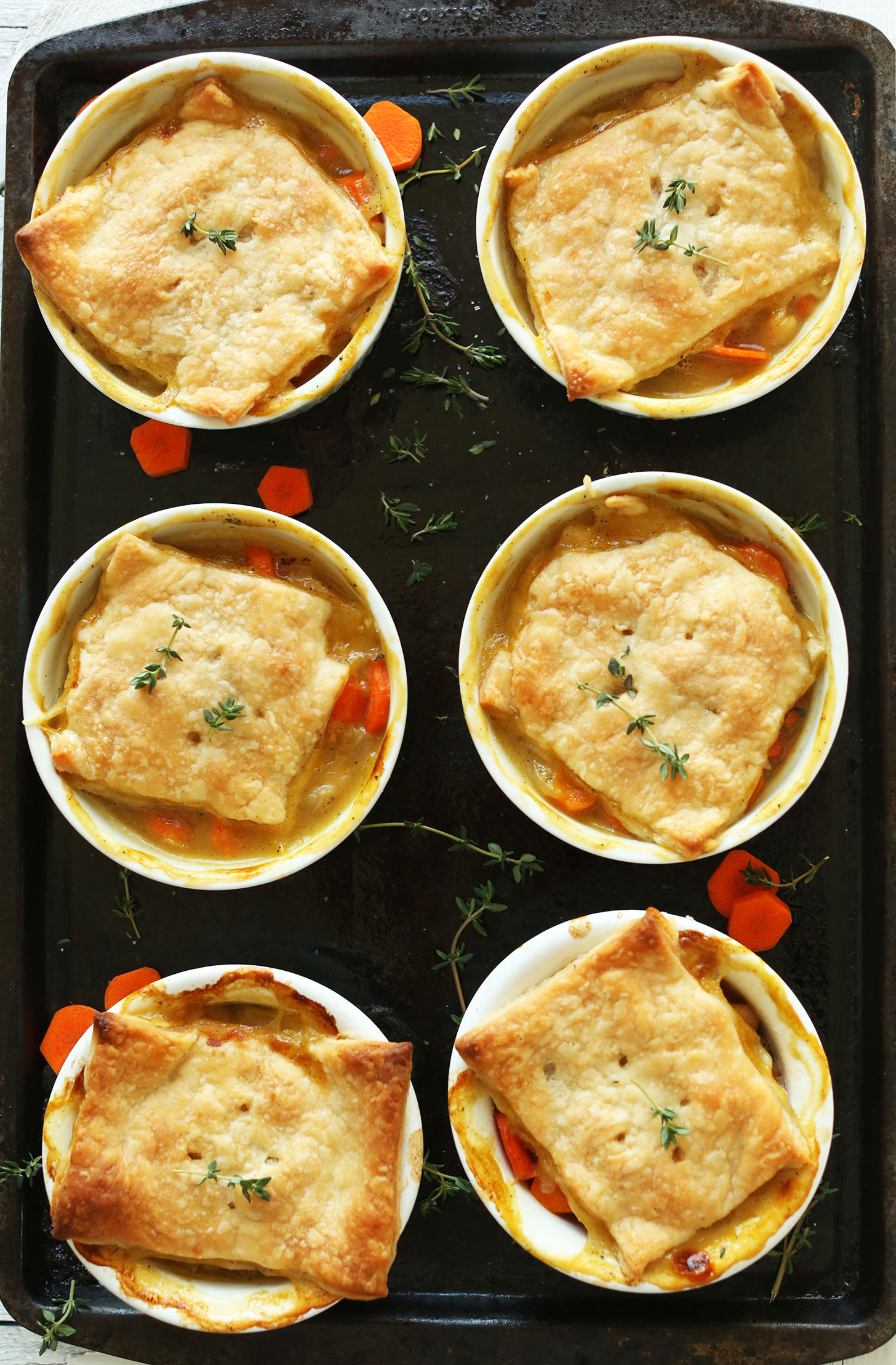 Lovable Bean Thyme Vegan Pot Pies Thyme Bean Pot Pies Minimalist Baker Recipes Healthy Winter Recipes Indian Healthy Winter Salad Recipes Six Ramekins Filled Baking Sheet nice food Healthy Winter Recipes
