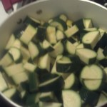 While those were steaming I chopped up the zucchini and Squash