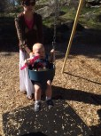 Swings were NOT fun until she saw her cousins liking them... then they were cool...