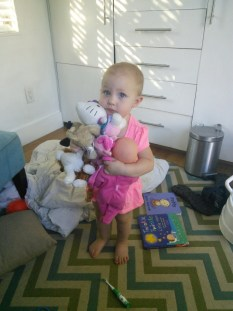 Hazel with all of the things, this one cracks me up! I think shes holding ALL of her stuffed animals