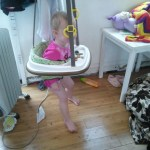 I got the bouncer down for Miles but Hazel was not ready to give it up... her love of the bouner is renewed!