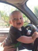 Miles learning to drive with no pants on!