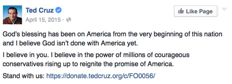 """El aspirante republicano Ted Cruz publicó en su Facebook que """"la bendición de Dios"""" ha estado con los Estados Unidos desde su fundación / The Conversation"""