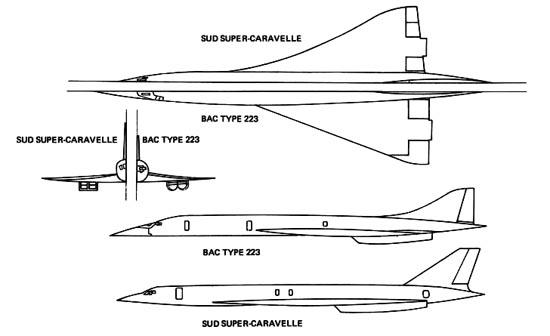 Conceptes d'avió supersònic britànic (BAC Type 223) i francès (Sud Super-Caravelle). La seva planta era similar a la que va acabar tenint el Concorde. / Bristol Aero