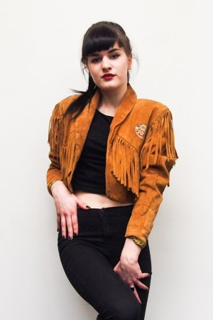 vintage fringe brown leather jacket indian hippie ibiza cowgirl girl fashion