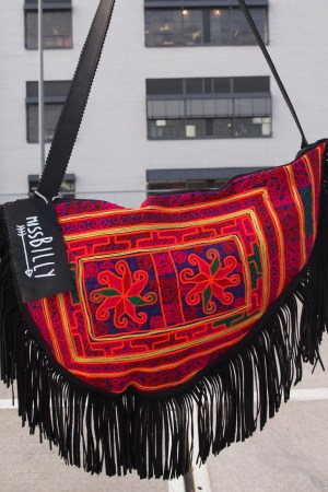 miss billy bag recycled leather black fringes embellish color ethnic kuchi tribal punk
