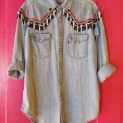 vintage western oversized denim shirt cowboy levi's levis cowgirl fringes beads colorful unique embellished pimped