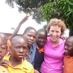 Kathy Ikola picture with children