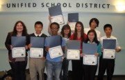 Mission High junior Yasmin Bhatti (left) and fellow buildOn participants show off recognition certificates given to them by the Board of Education (Photo Provided by Ashley Shult)