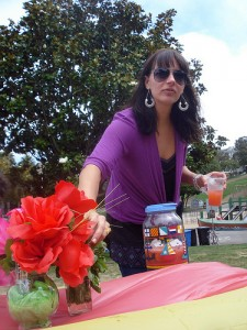 Park goer sets up sangria competition on Sunday.
